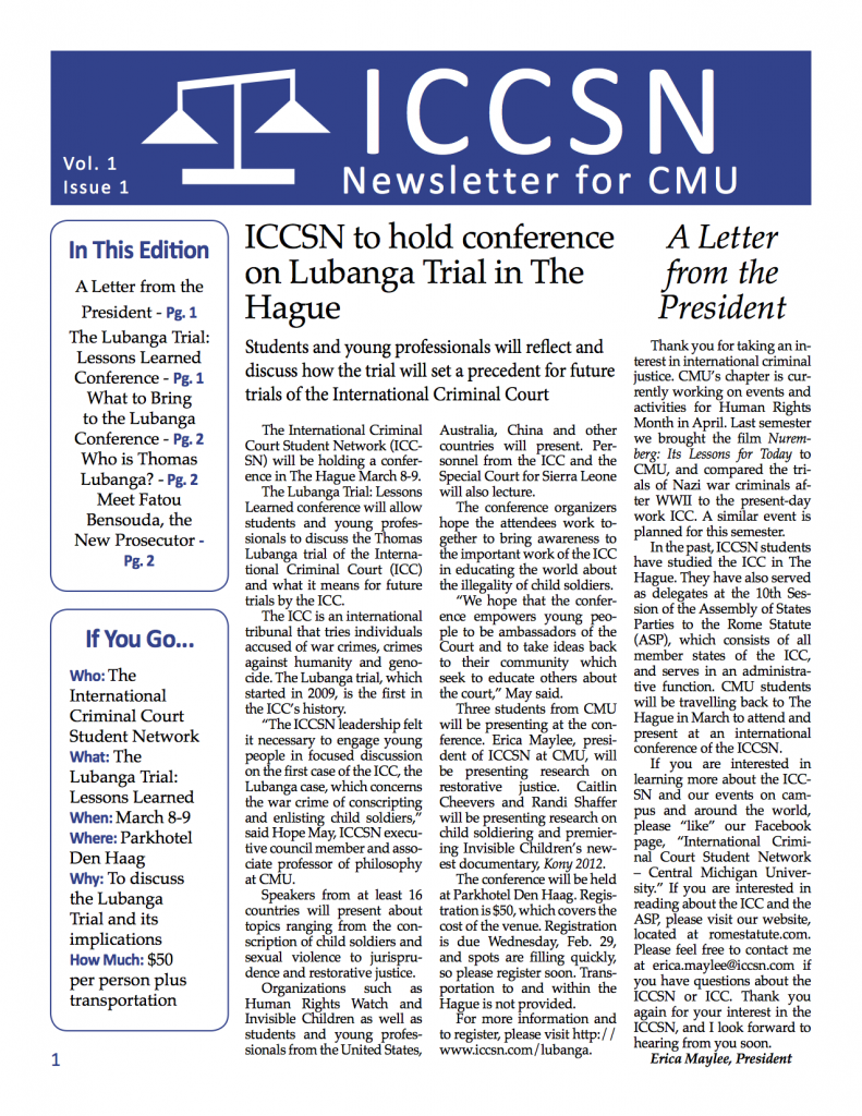ICCSN Newsletter Page 1